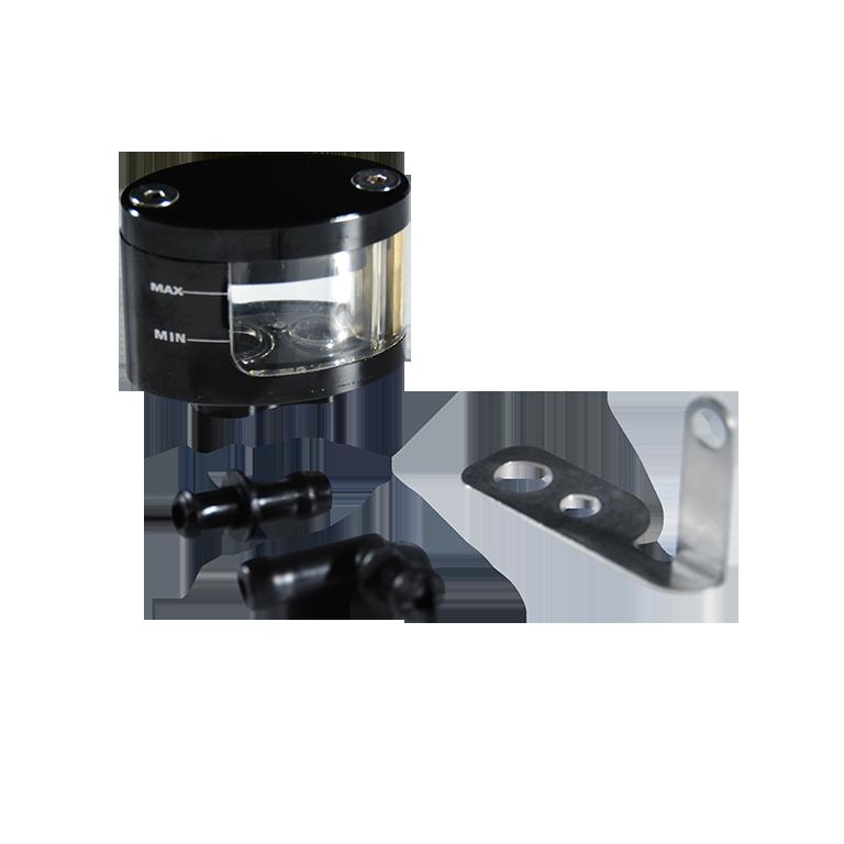 Bocal de maître cylindre de frein Universel Rond ALU CNC Noir (Sortie Dessous)