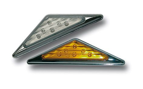 Clignotant Arrière Led Triangle ERMAX (paire) Blanc Bord Alu