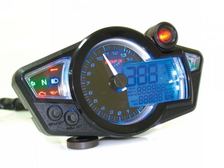 Compteur de vitesse multifonctions KOSO RX1N GP STYLE - Montage universel (noir fond blanc)
