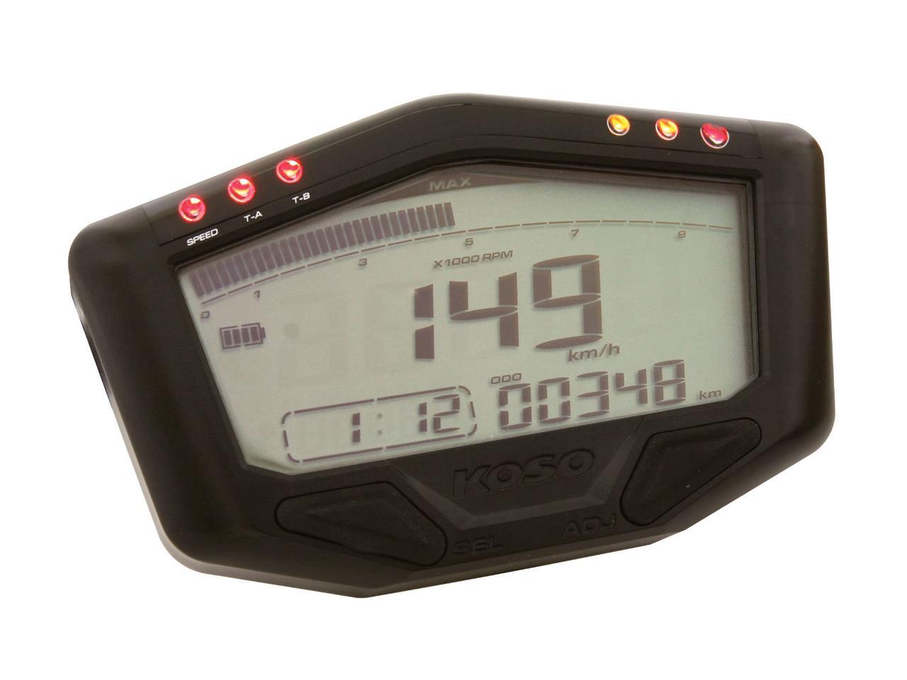Compteur de vitesse multifonctions KOSO DB-02 - Montage universel (noir)