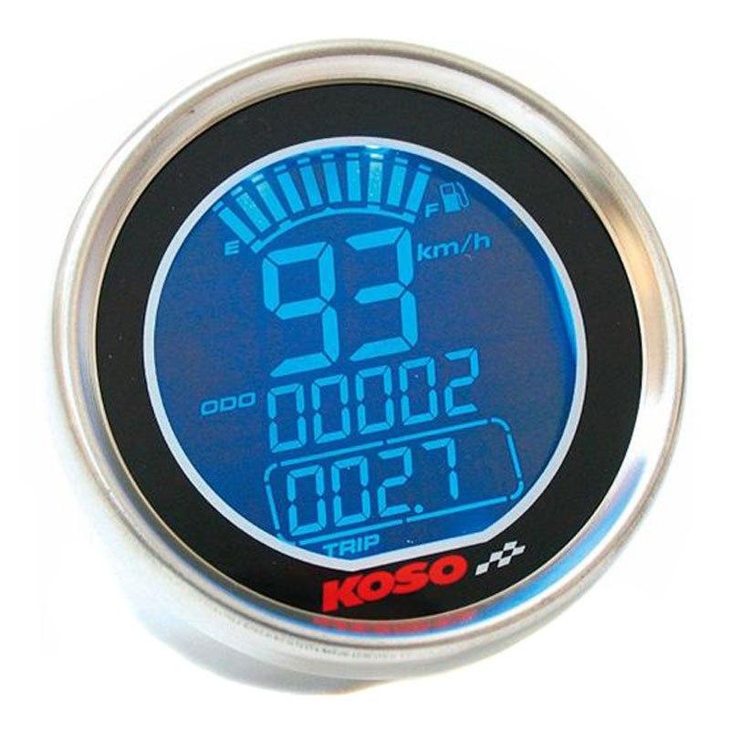 Compteur de vitesse KOSO DL-01S GP STYLE LCD - Montage universel (Rond Chrome)