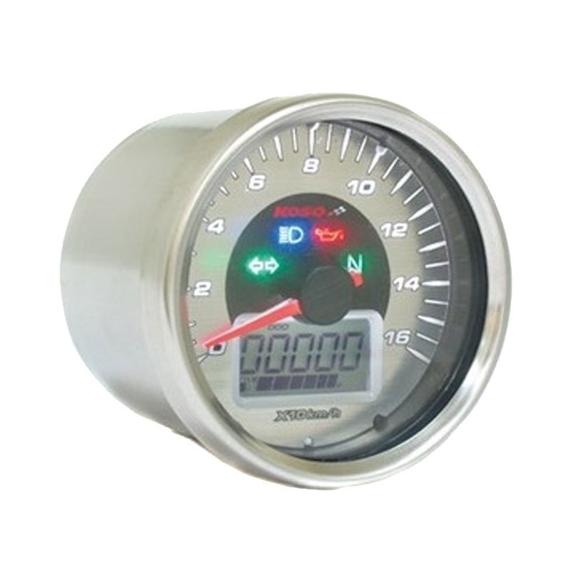 Compteur de vitesse KOSO D64 GP STYLE 160 km/h - Montage universel (Rond Chrome)