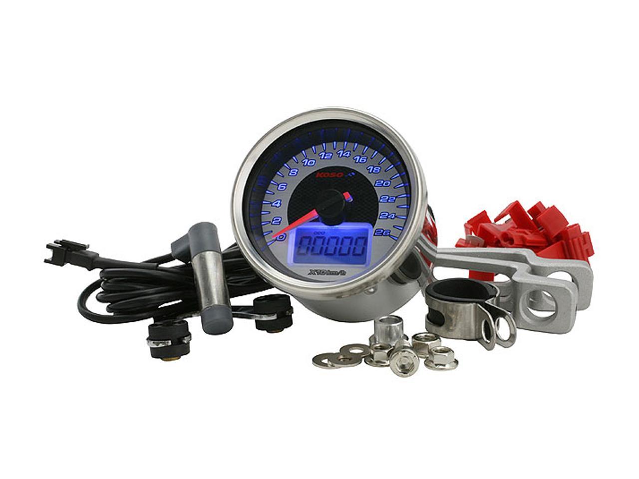 Compteur de vitesse KOSO D64 GP STYLE 260 km/h - Montage universel (Rond Chrome)