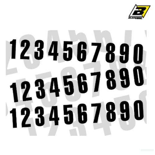 Kit numéros de course BLACKBIRD 0 à 9 130x70mm noir