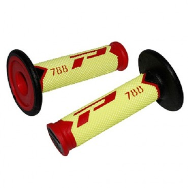 Poignees ProGrip 788 Jaune / Rouge / Noir (La paire) - Cross 115mm