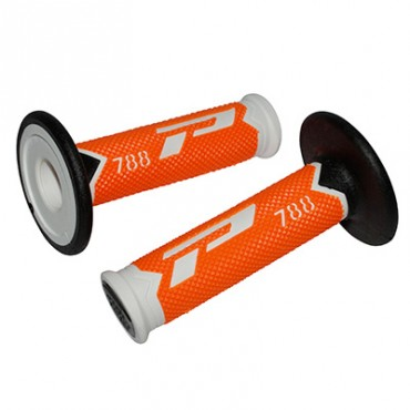 Poignees ProGrip 788 Orange Fluo / Blanc / Noir (La paire) - Cross 115mm