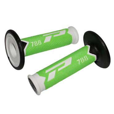 Poignees ProGrip 788 Vert Fluo / Blanc / Noir (La paire) - Cross 115mm