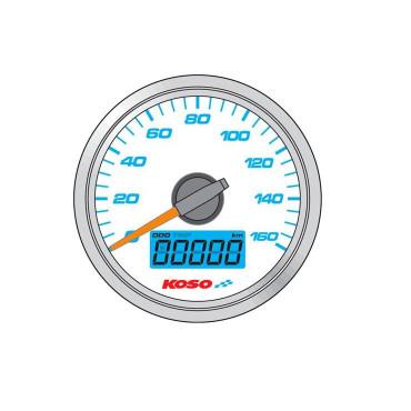 Compteur de vitesse KOSO D48 GP STYLE - Montage universel (fond blanc)