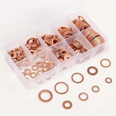 Joint de bouchon de vidange cuivre coffret 200 pièces (5-6-8-10-12-14mm)