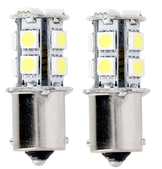 Lampe 12V 3.3W type BA15S LED - Blanc (la paire)