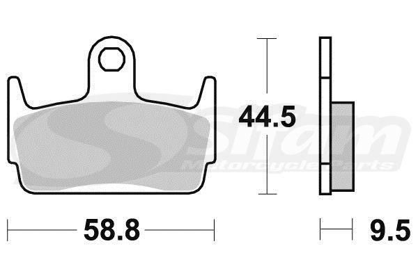 Plaquettes de frein 100% Metal Fritté S1962N (Beta 125 Jonathan 2000-2002 / Honda 50 X8R 1999-2004 / Kymco 50 Sniper DT/DD 1993-1996 / Sym 50 jet X Sport 2006-2013)