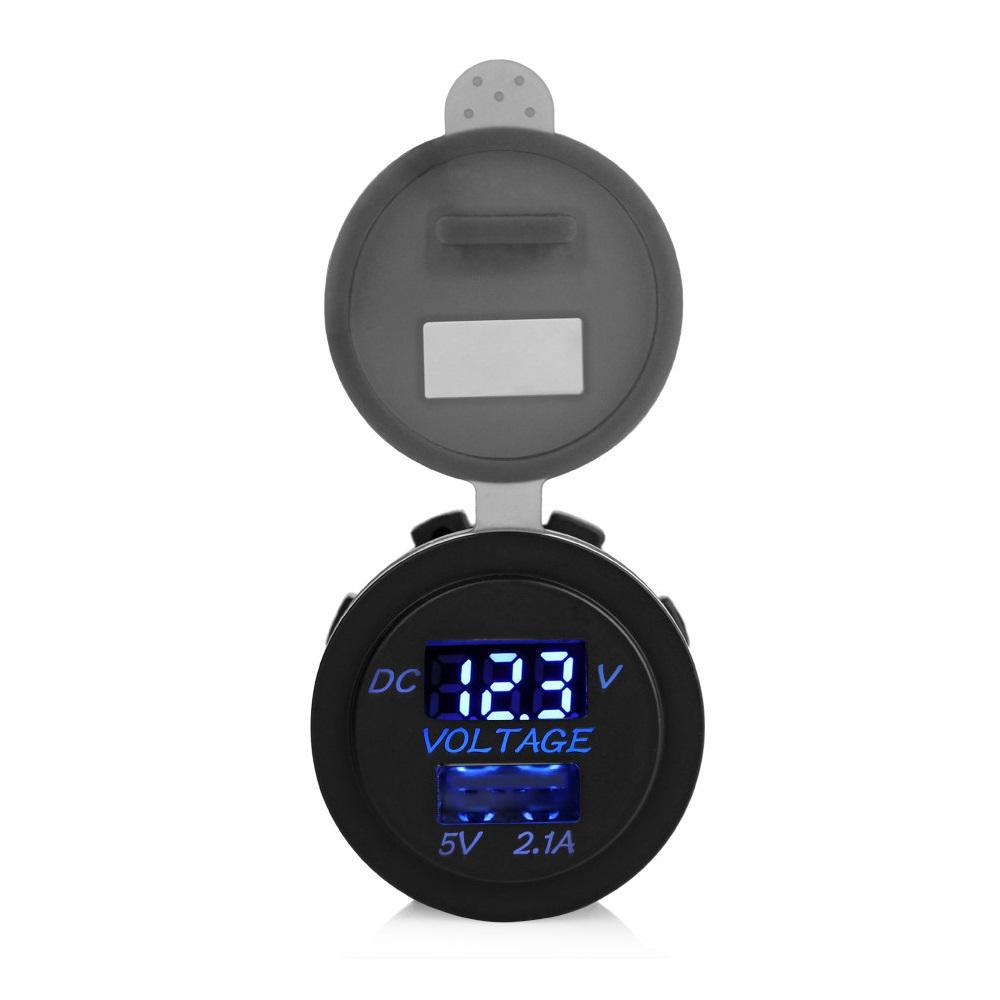 Chargeur USB 2.1A 5V avec voltmètre encastrable